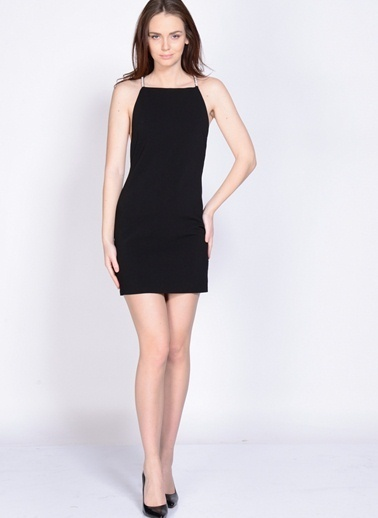 Endless Rose Askılı Mini Elbise Siyah
